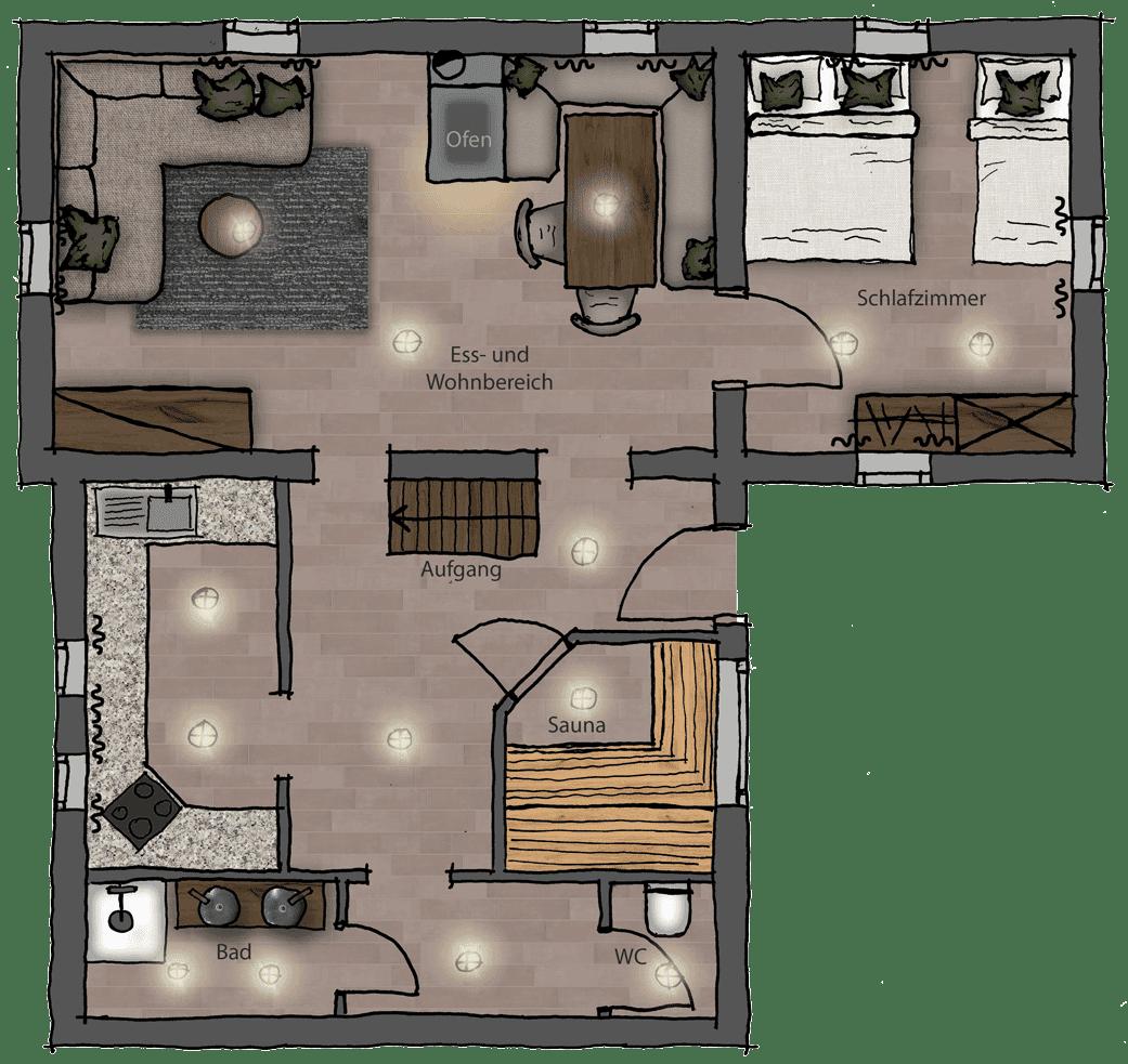 Wurzelhütte - Erdgeschoss