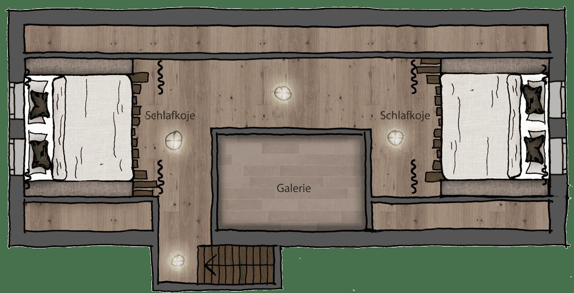 Wurzelhütte - Dachgeschoss